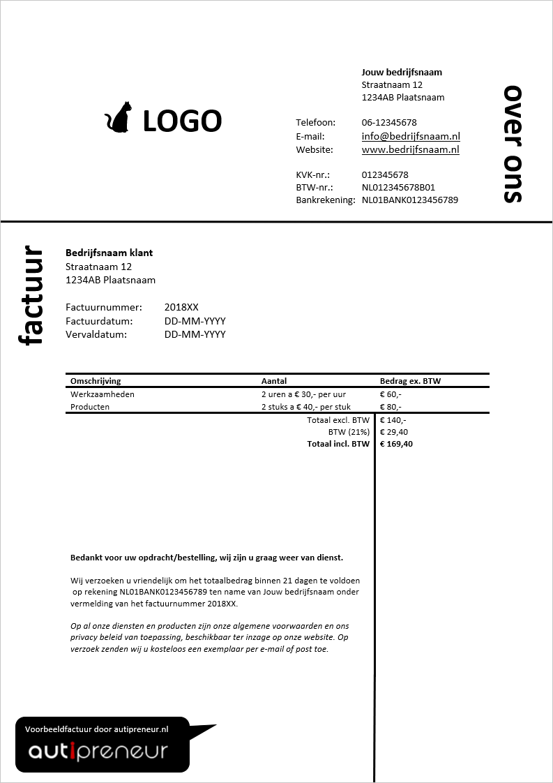 Voorbeeld Factuur Nodig Gratis Download In Pdf Excel En Word